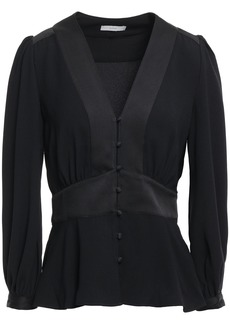 Joie Woman Monisha Button-detailed Satin-paneled Crepe Blouse Black