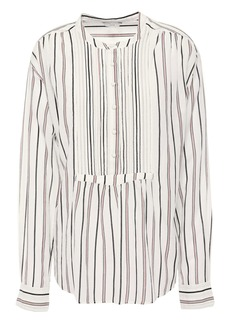 Joie Woman Morit Pintucked Striped Cotton-blend Blouse Ivory