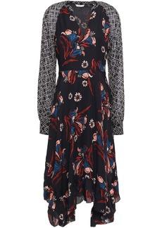Joie Woman Morley Asymmetric Georgette-paneled Floral-print Silk-crepe Midi Dress Black