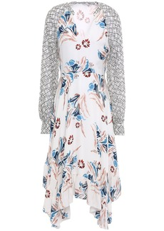 Joie Woman Morley Asymmetric Georgette-paneled Floral-print Silk-crepe Midi Dress White