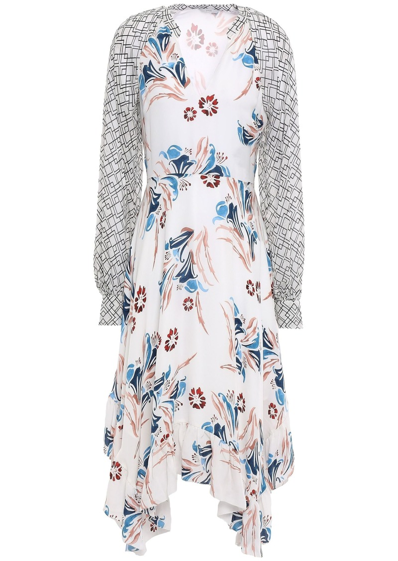 Joie Woman Morley Asymmetric Georgette-paneled Floral-print Silk-crepe Midi Dress White