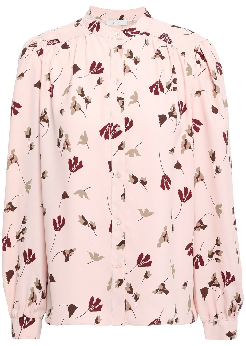 Joie Woman Myella Floral-print Crepe De Chine Blouse Baby Pink