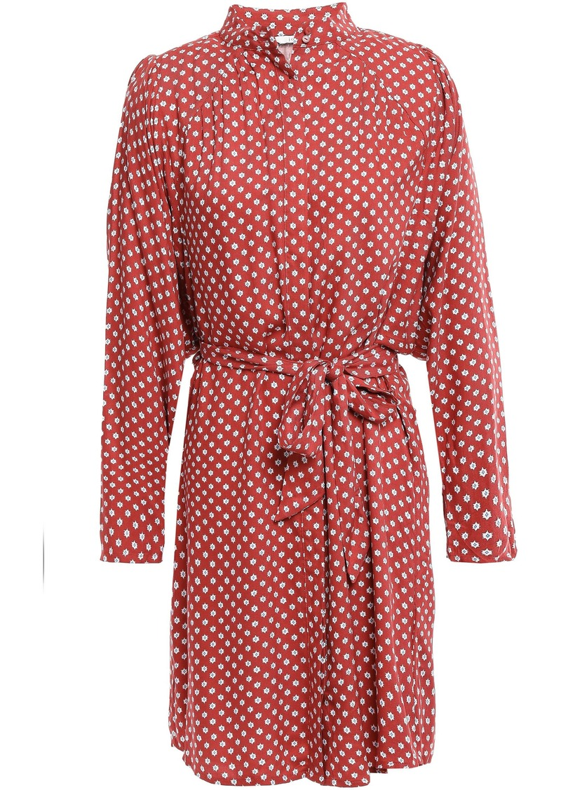 Joie Woman Myune Belted Printed Twill Mini Shirt Dress Brick