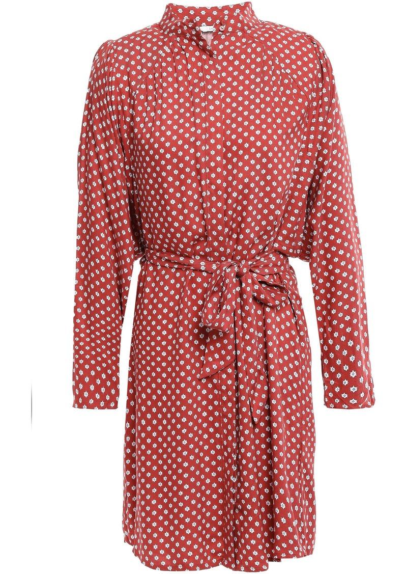 Joie Woman Myune Belted Printed Twill Mini Shirt Dress Brick