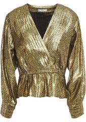 Joie Woman Nadeen Wrap-effect Metallic Jacquard Peplum Top Gold