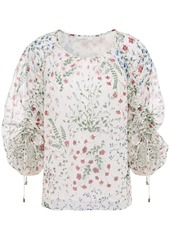Joie Woman Neema Ruched Floral-print Fil Coupé Georgette Blouse Midnight Blue