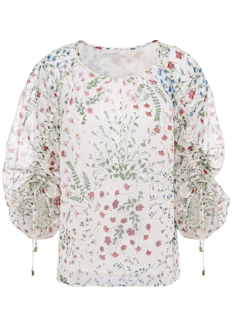 Joie Woman Neema Ruched Floral-print Fil Coupé Georgette Blouse Cream