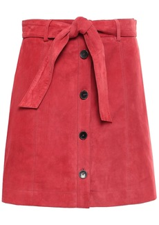 Joie Woman Neida Belted Suede Mini Skirt Papaya
