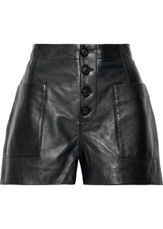 Joie Woman Nirel Leather Shorts Black