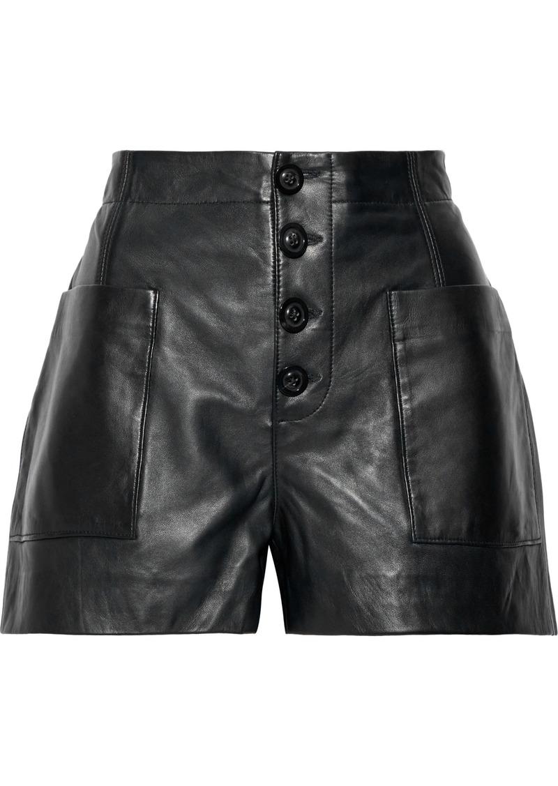 Joie Woman Nirel Leather Shorts Black