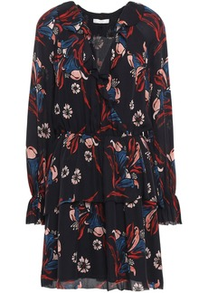 Joie Woman Nour Wrap-effect Floral-print Silk-crepe Mini Dress Black