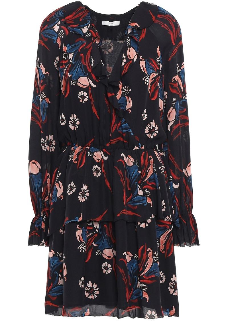 Joie Woman Nour Wrap-effect Floral-print Silk-crepe Mini Dress Black