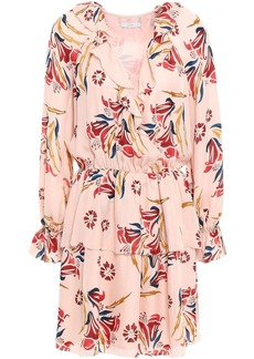 Joie Woman Nour Wrap-effect Floral-print Silk-crepe Mini Dress Blush