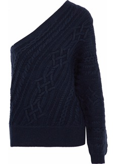 Joie Woman Orella One-shoulder Cable-knit Wool And Yak-blend Sweater Midnight Blue