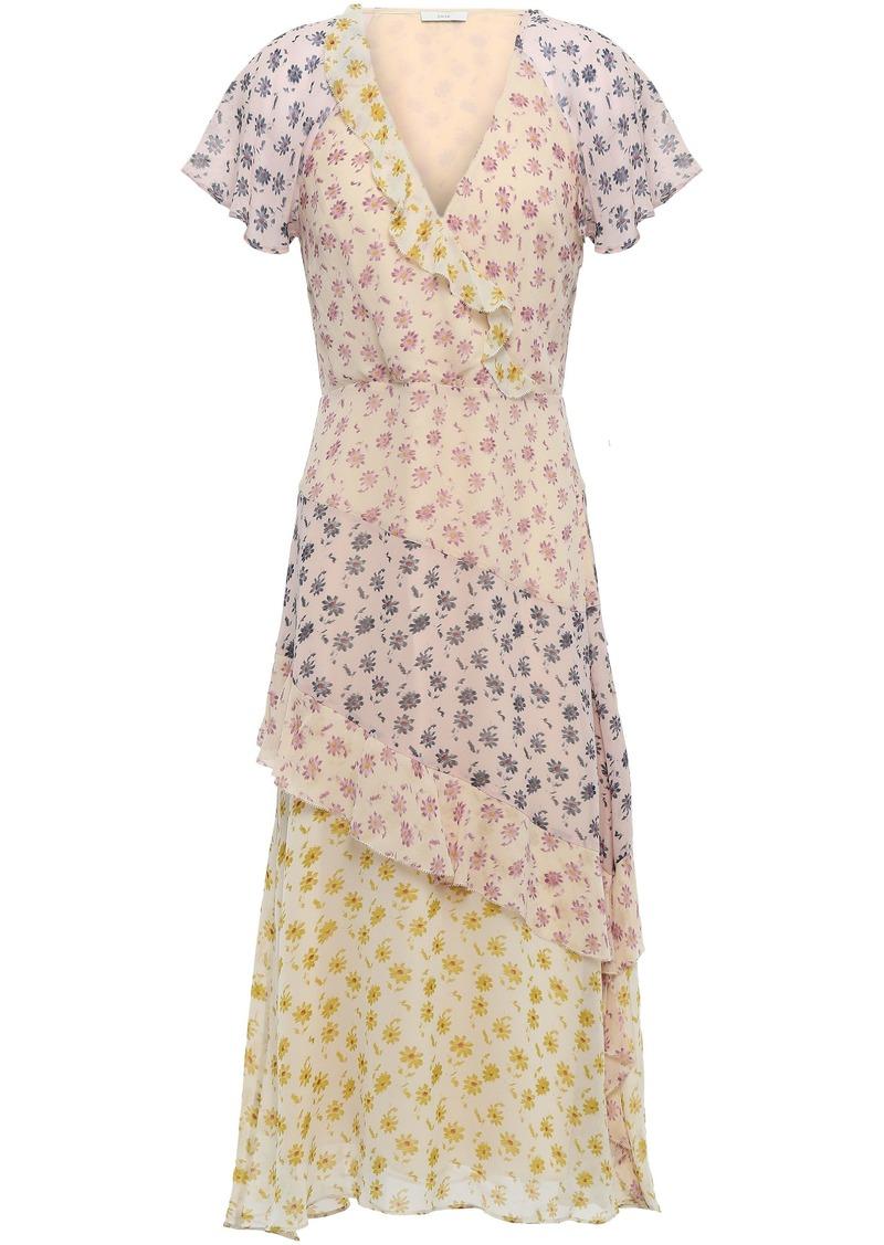 Joie Woman Orita B Wrap-effect Floral-print Silk-georgette Midi Dress Neutral