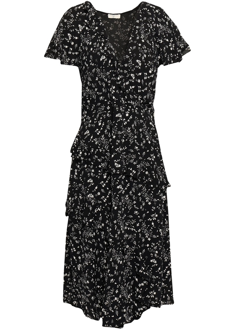Joie Woman Orita Wrap-effect Ruffled Floral-print Crepe Dress Black
