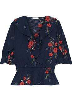 Joie Woman Ottoline Ruffled Floral-print Jacquard Peplum Blouse Navy