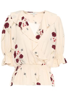 Joie Woman Ottoline Wrap-effect Ruffled Floral-print Satin-jacquard Blouse Cream