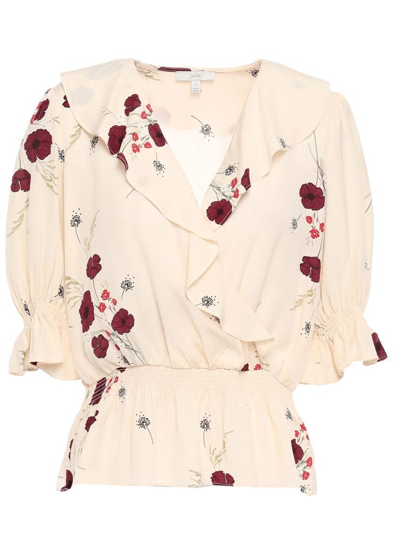 Joie Woman Ottoline Wrap-effect Ruffled Floral-print Satin-jacquard Blouse Cream