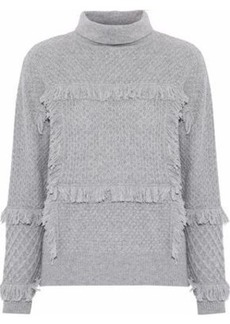 Joie Woman Paisli Fringe-trimmed Cable-knit Sweater Stone