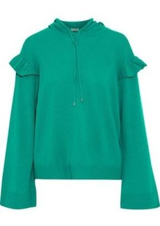 Joie Woman Pammeli Ruffle-trimmed Wool And Cashmere-blend Hoodie Green