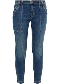 Joie Woman Park Cropped Faded Mid-rise Skinny Jeans Mid Denim