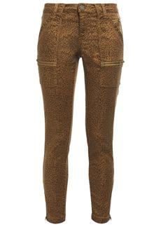 Joie Woman Park Cropped Leopard-print Cotton-blend Twill Skinny Pants Animal Print