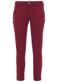 Joie Woman Zip-detailed Mid-rise Skinny Jeans Crimson
