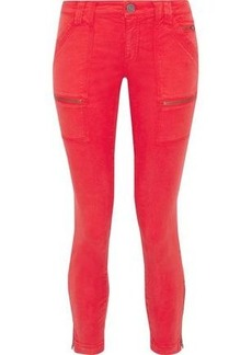 Joie Woman Park Moto-style Cropped Low-rise Skinny Jeans Tomato Red