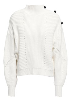 Joie Woman Pointelle-trimmed Cotton And Cashmere-blend Sweater White