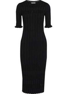Joie Woman Pointelle-trimmed Ribbed-knit Midi Dress Black