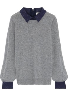 Joie Woman Polka-dot Poplin-trimmed Wool And Cashmere-blend Sweater Gray