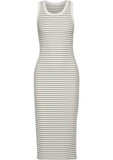 Joie Woman Polymela B Striped Ribbed Jersey Midi Dress Ivory