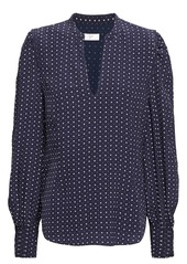 Joie Woman Printed Crepe De Chine Blouse Midnight Blue