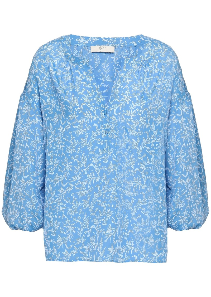 Joie Woman Printed Crepe De Chine Blouse Azure