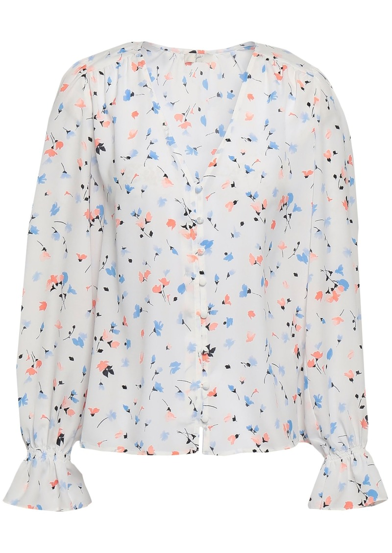 Joie Woman Printed Crepe De Chine Blouse White