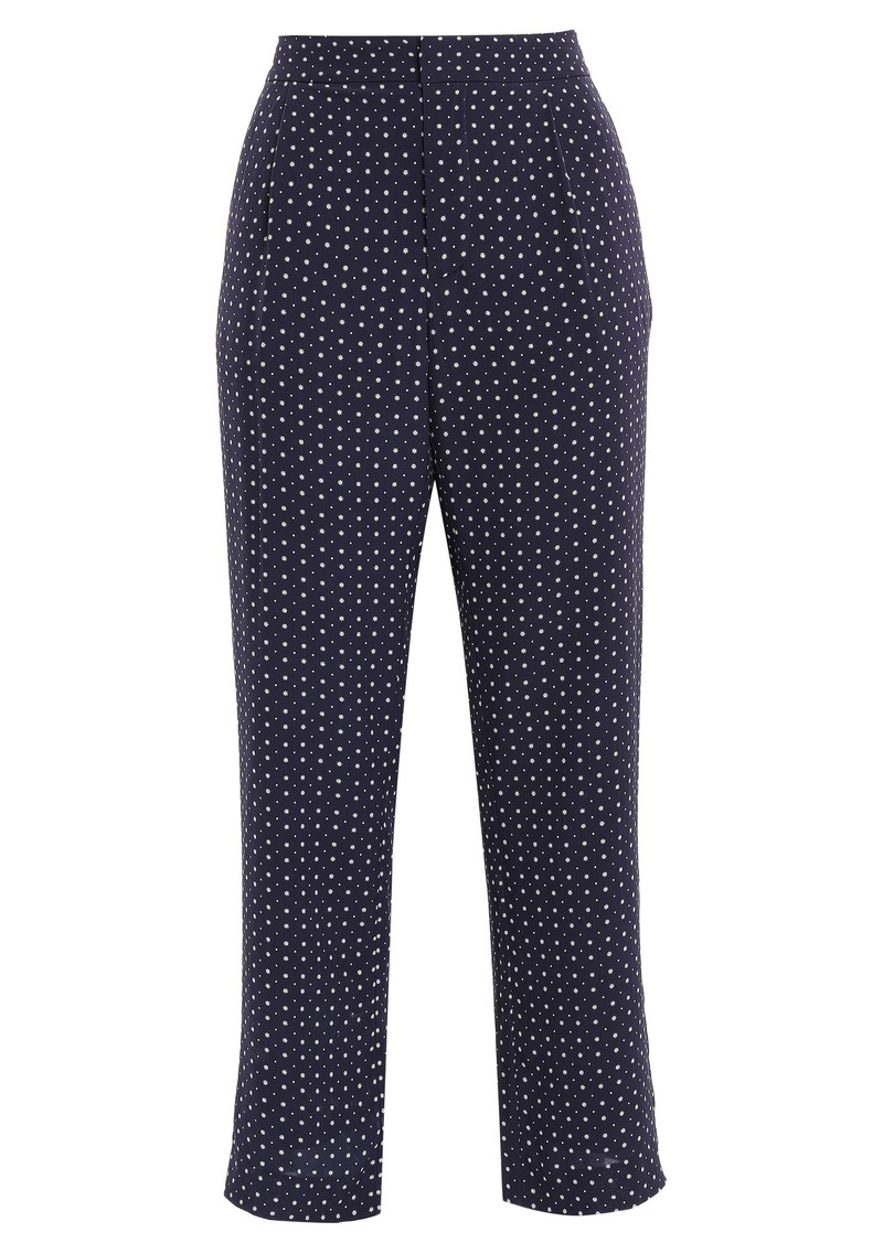 Joie Woman Printed Crepe De Chine Straight-leg Pants Navy