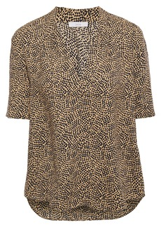 Joie Woman Printed Crepe De Chine Top Light Brown