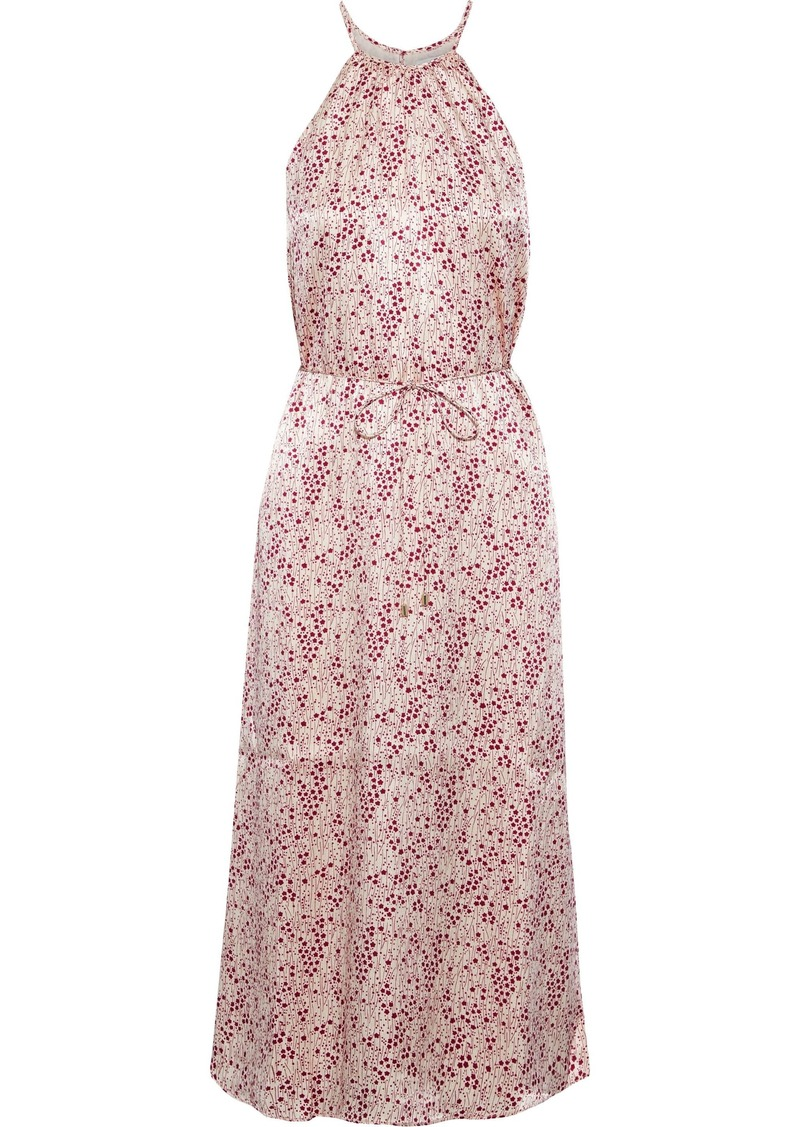 Joie Woman Printed Hammered-satin Midi Dress Baby Pink