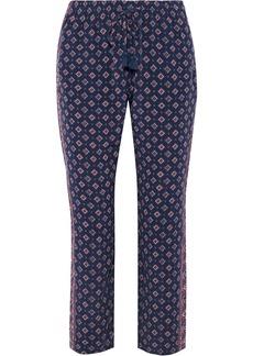 Joie Woman Printed Silk Straight-leg Pants Indigo