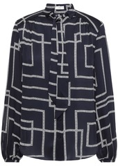 Joie Woman Pussy-bow Printed Crepe De Chine Blouse Navy