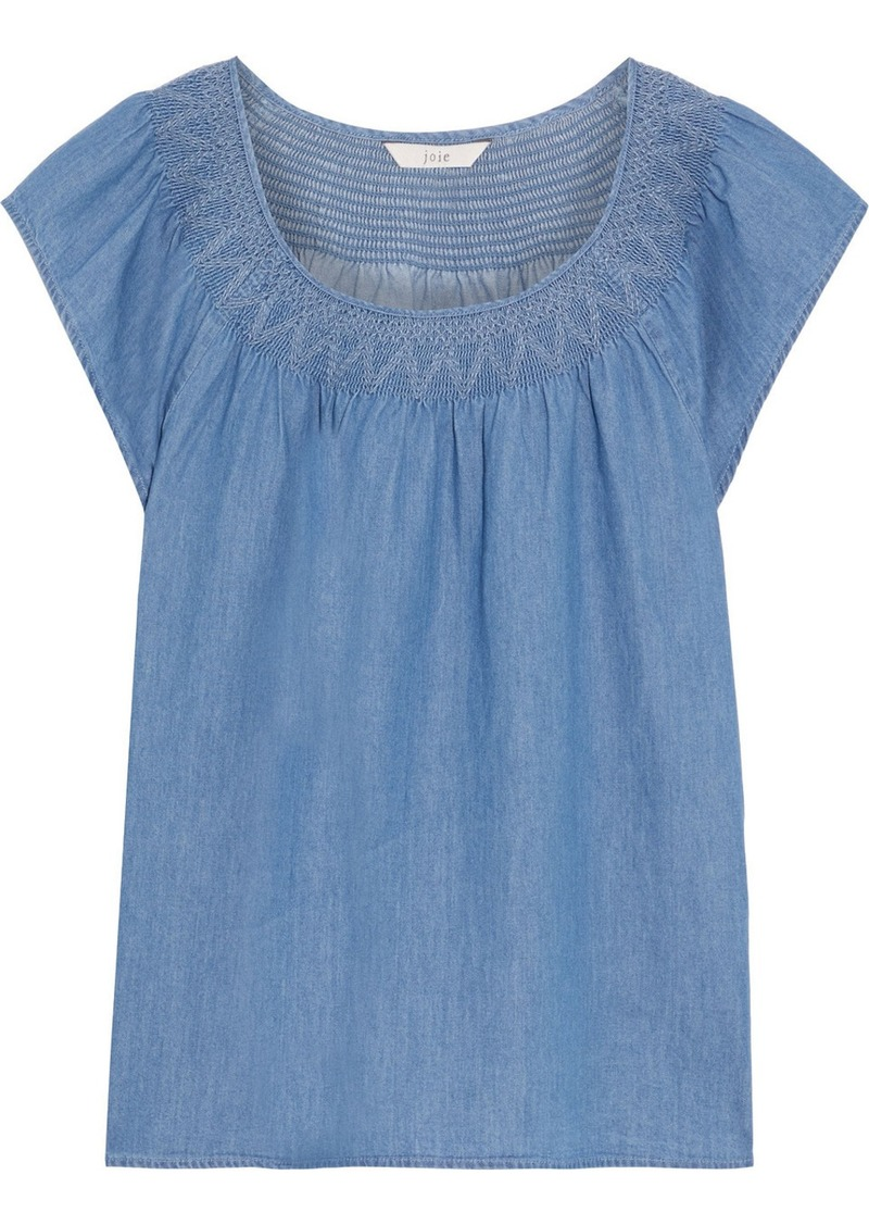 Joie Woman Qwynn Smocked Cotton-chambray Top Mid Denim