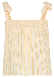 Joie Woman Raheda Shirred Striped Linen Top Pastel Yellow