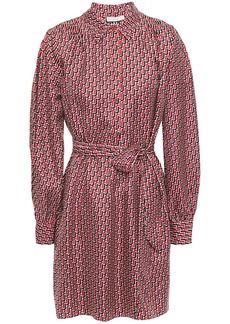 Joie Woman Razi Belted Printed Silk-twill Mini Shirt Dress Red