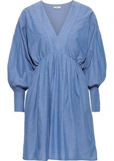 Joie Woman Robina Gathered Cotton-chambray Mini Dress Blue
