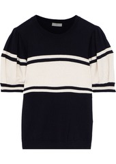 Joie Woman Rolana Striped Cotton And Cashmere-blend Top Black
