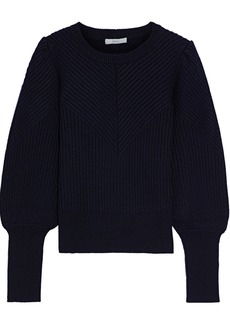 Joie Woman Ronita Ribbed Wool-blend Sweater Midnight Blue