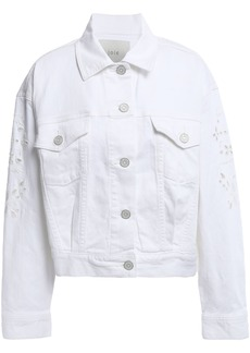Joie Woman Roslena Broderie Anglaise Denim Jacket White