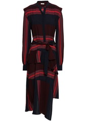 Joie Woman Roz Asymmetric Striped Voile Midi Dress Black