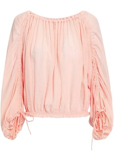 Joie Woman Ruched Crinkled Voile Blouse Peach